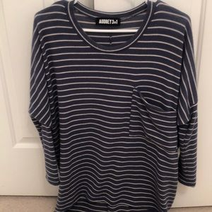 Blue and White Oversized Long Sleeve | SO SOFT